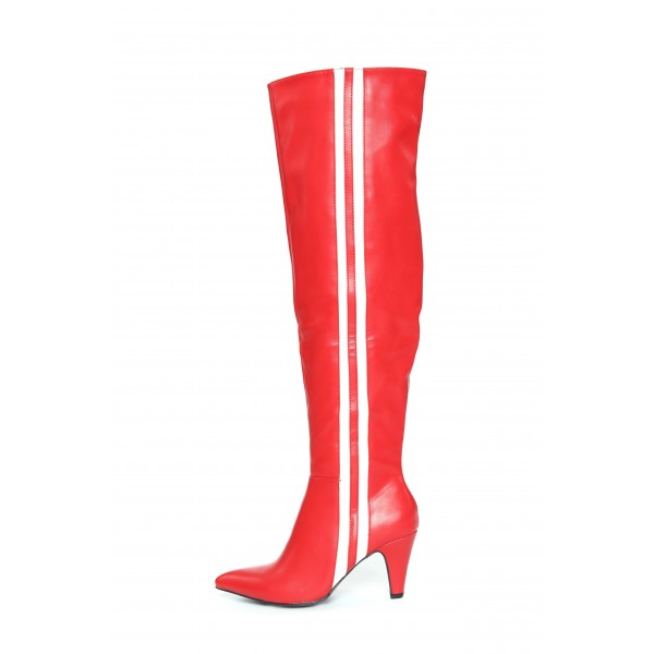 Red Cone Heel White Stripes Long Boots Over-the-knee boots image 1