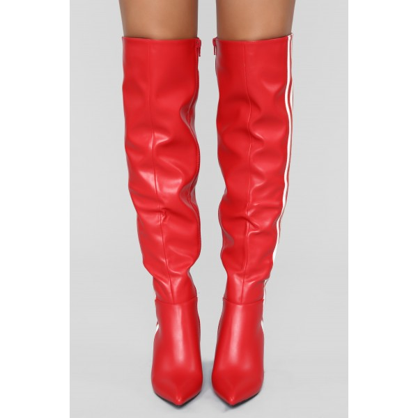 Red Cone Heel White Stripes Long Boots Over-the-knee boots image 2