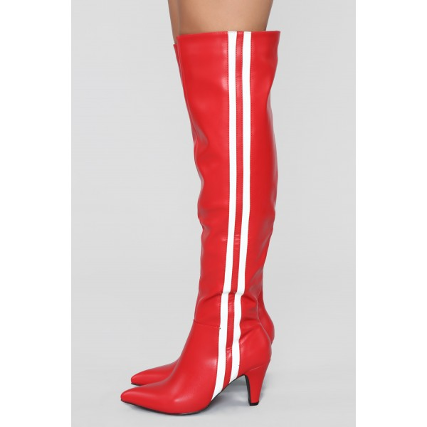 Red Cone Heel White Stripes Long Boots Over-the-knee boots image 3