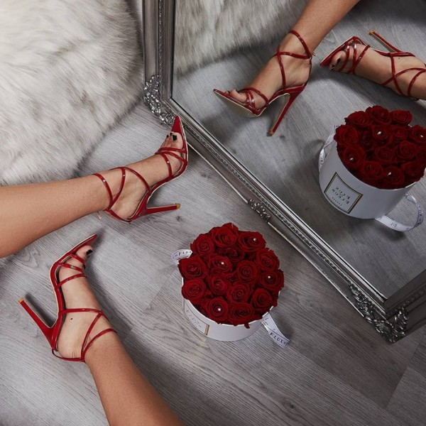 Red Cross Over Stiletto Heels Strappy Sandals image 1