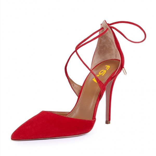 Women's Red Strappy Heels Pointy Toe Stilettos Pumps image 4