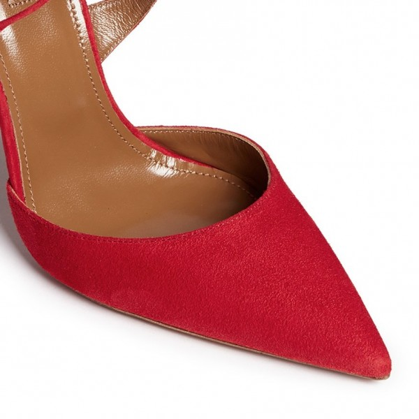 Women's Red Strappy Heels Pointy Toe Stilettos Pumps image 2