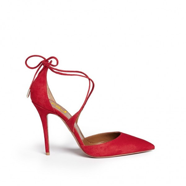 Women's Red Strappy Heels Pointy Toe Stilettos Pumps image 3