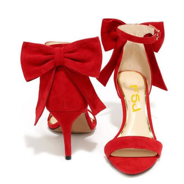 802d4d8a734 Red Cute Bow Stiletto Heels Ankle Strap Sandals image 1 ...