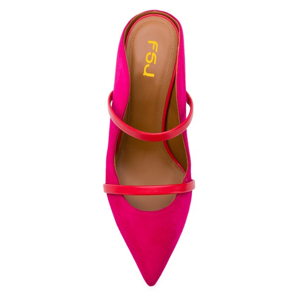 Red Double Straps Stiletto Heel Mules image 3