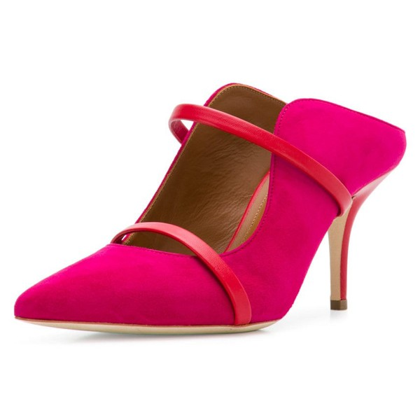 Red Double Straps Stiletto Heel Mules image 1