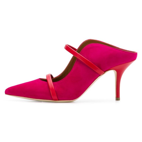 Red Double Straps Stiletto Heel Mules image 2