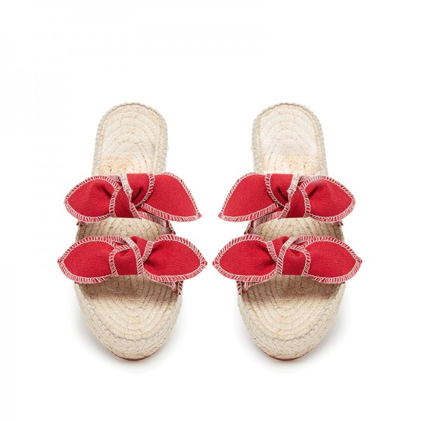Red Bows Espadrille Sandals Comfortable Women's Slide Sandals image 3