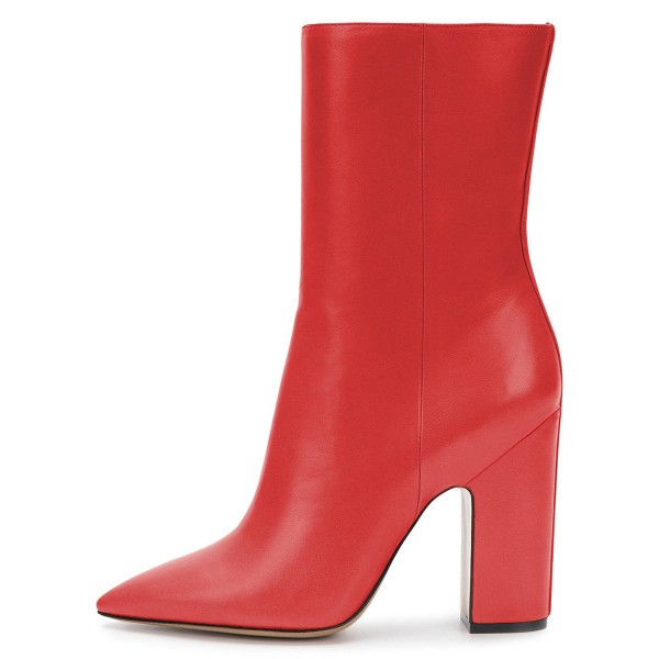 Red Pointy Toe Chunky Heel Boots Fashion Ankle Booties with Zipper image 4