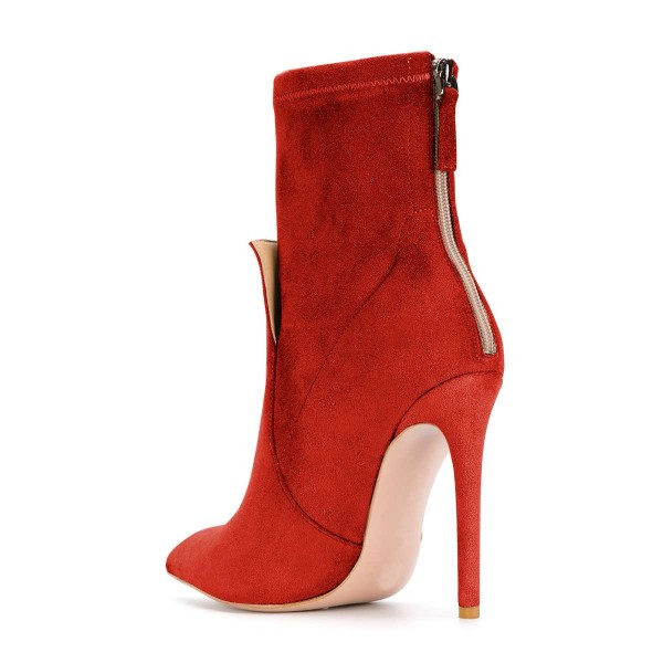 Red Fashion Zip Stiletto Boots Pointy Toe Suede Ankle Boots By FSJ image 2