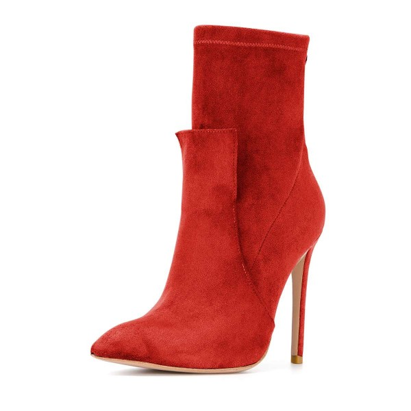 Red Fashion Zip Stiletto Boots Pointy Toe Suede Ankle Boots By FSJ image 1