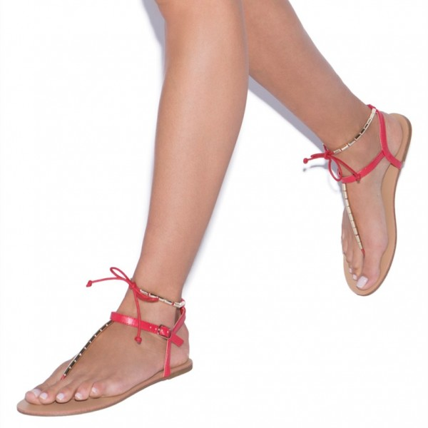 Red Flip-Flops Comfortable Flats Beach Sandals with Metal image 3