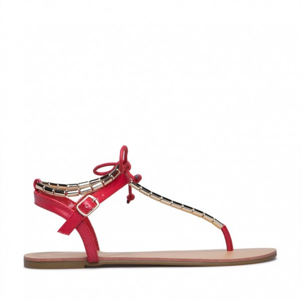 Red Flip-Flops Comfortable Flats Beach Sandals with Metal image 2
