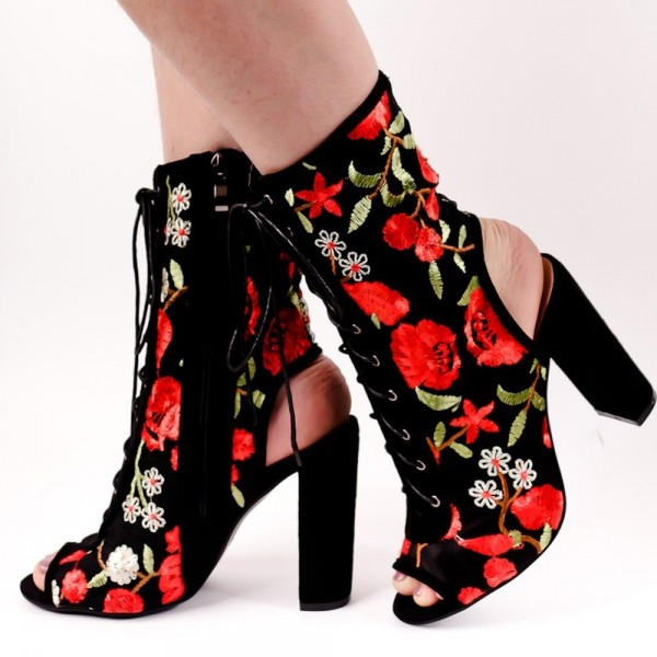 Floral Lace up Boots Chunky Heel Slingback Ankle Boots image 1