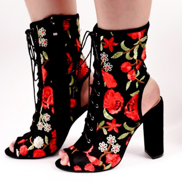 Floral Lace up Boots Chunky Heel Slingback Ankle Boots image 2