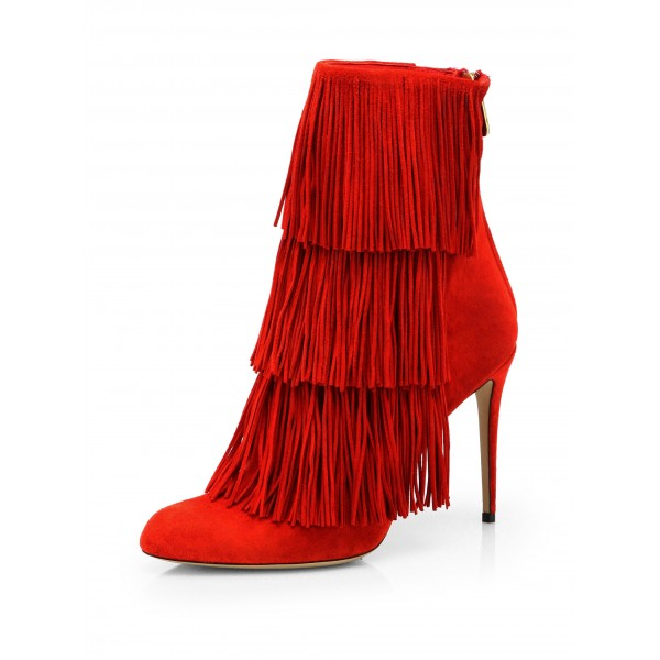 Red Fringe Boots Suede Stiletto Heels Fashion Ankle Booties image 1