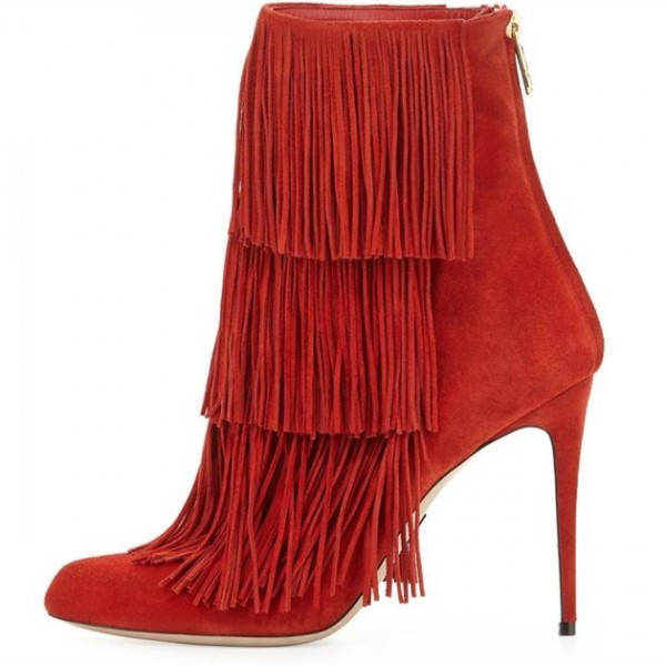 Red Fringe Boots Suede Stiletto Heels Fashion Ankle Booties image 3