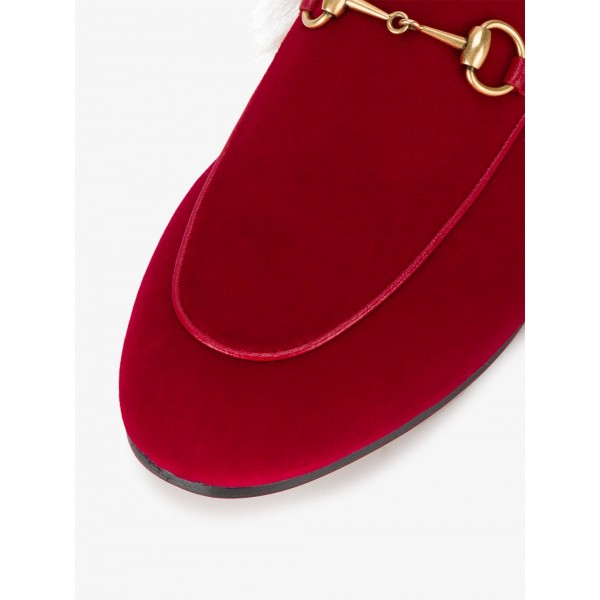 Red Fur Loafer Mules image 2