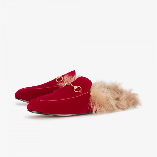 Red Fur Loafer Mules image 1