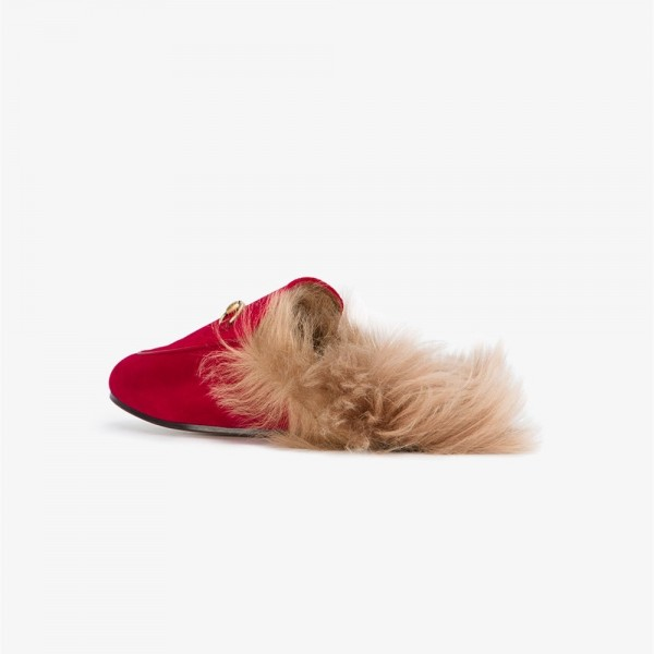 Red Fur Loafer Mules image 4