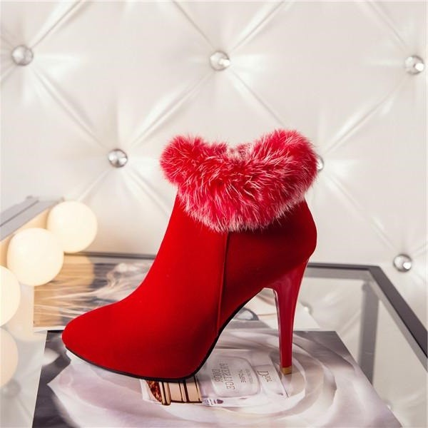 Red Furry Stiletto Heel Ankle Booties image 1