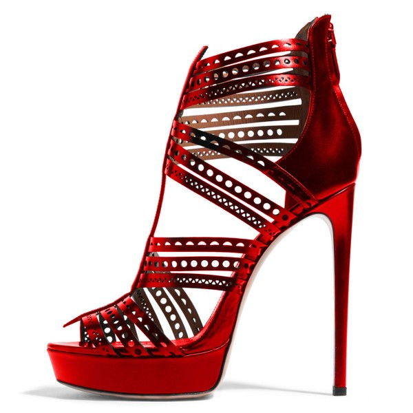 Red Geometry Pattern Hollow out Stiletto Heel Platform Sandals image 1