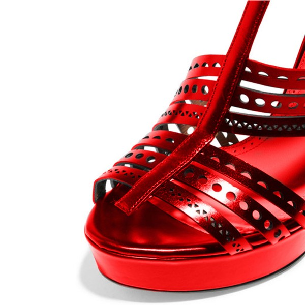 Red Geometry Pattern Hollow out Stiletto Heel Platform Sandals image 3