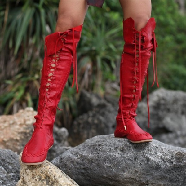 Women's Red Gladiator Boots Strappy Flat Knee-high Lace Up Boots image 2