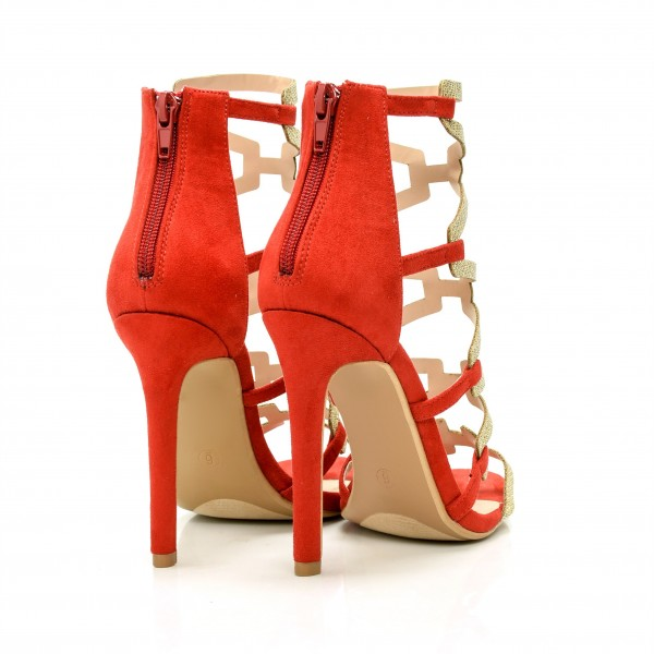 Red Gladiator Sandals Gold Glitter Open Toe Stiletto Heel Sandals image 3
