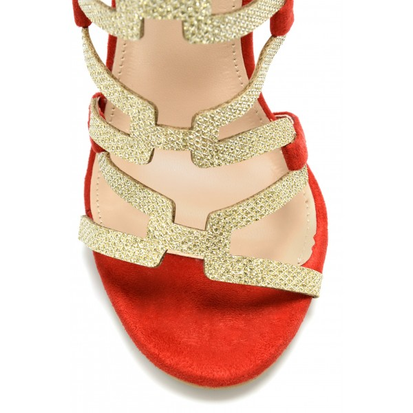 Red Gladiator Sandals Gold Glitter Open Toe Stiletto Heel Sandals image 2