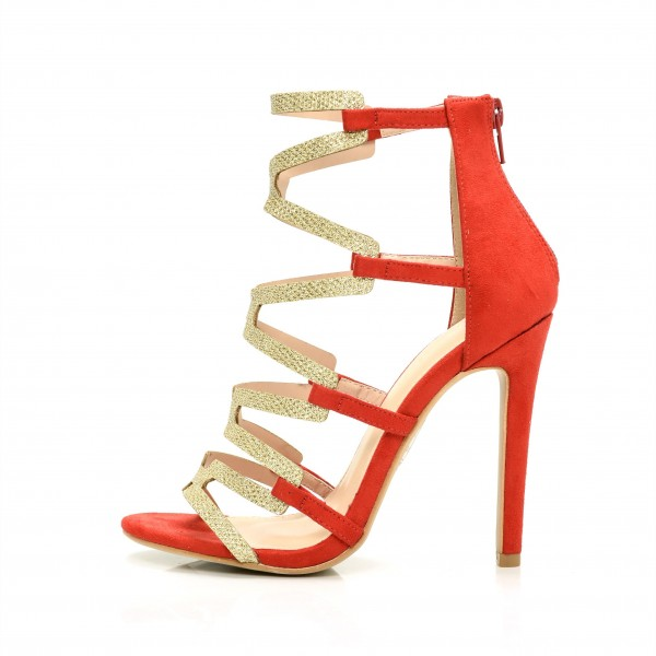Red Gladiator Sandals Gold Glitter Open Toe Stiletto Heel Sandals image 1