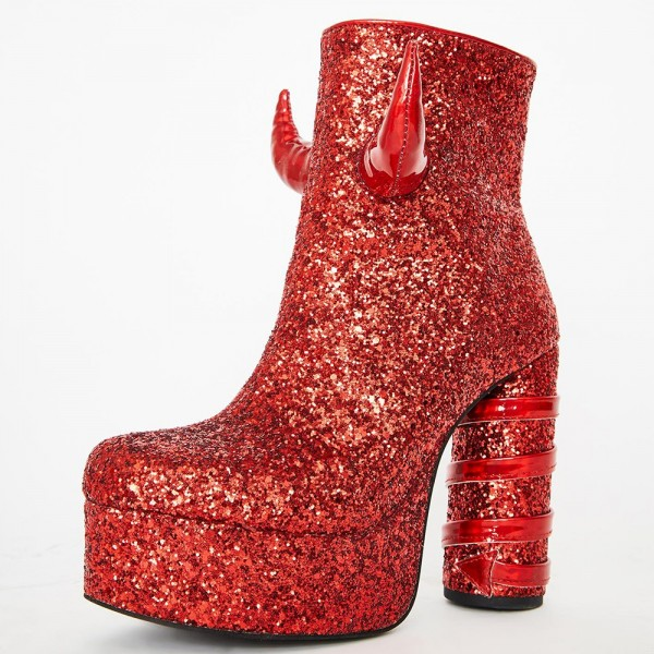 Red Glitter Boots Platform Chunky Heel Ankle Boots image 1