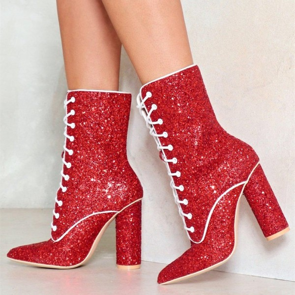 Red Glitter Chunky Heel Boots Lace up Ankle Booties image 1