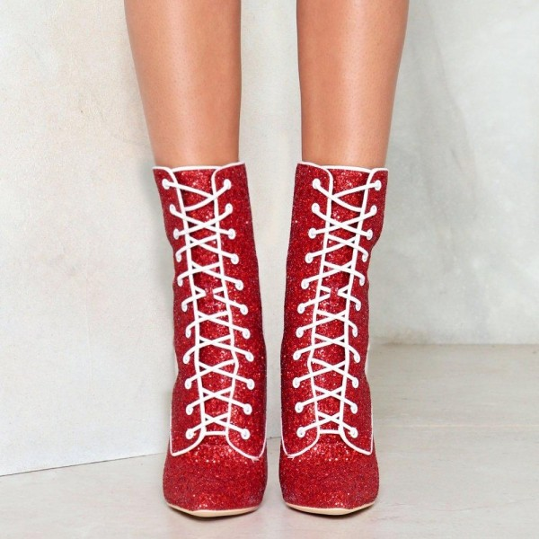 Red Glitter Chunky Heel Boots Lace up Ankle Booties image 3