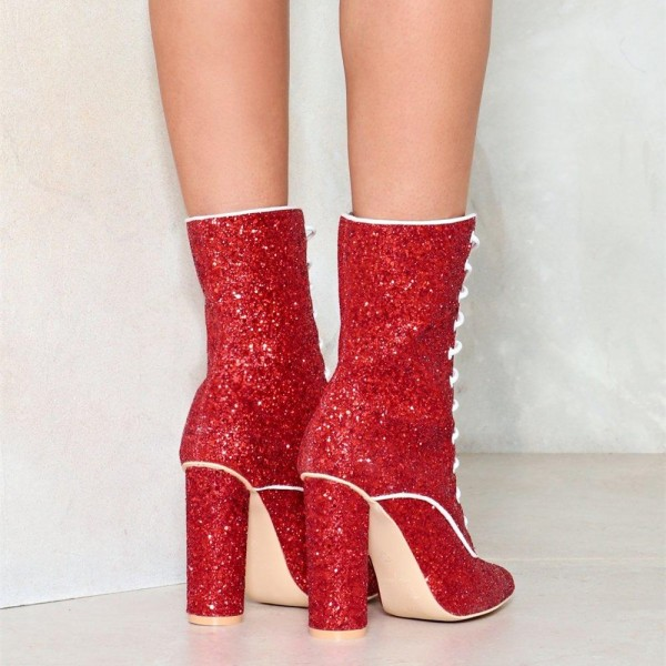 Red Glitter Chunky Heel Boots Lace up Ankle Booties image 2