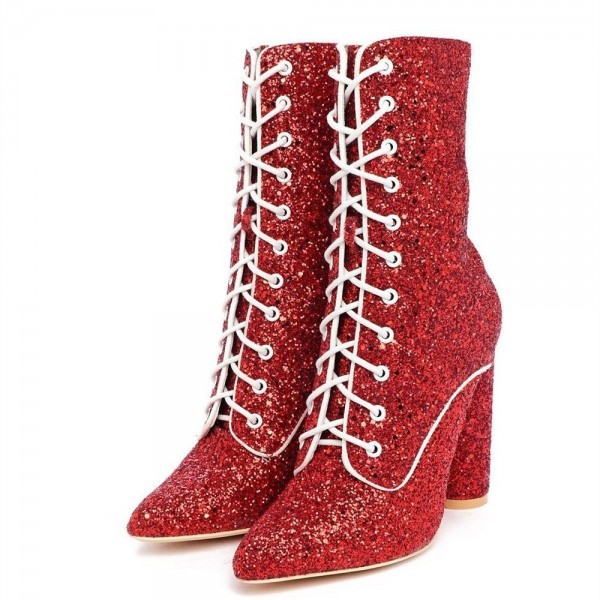 Red Glitter Chunky Heel Boots Lace up Ankle Booties image 4