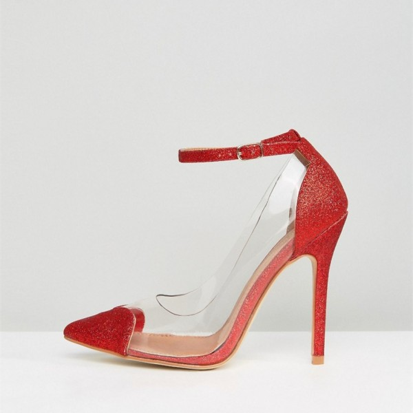 Clear Heels Red Transparent Ankle Strap Pointy Toe Stiletto Heel Pumps image 4