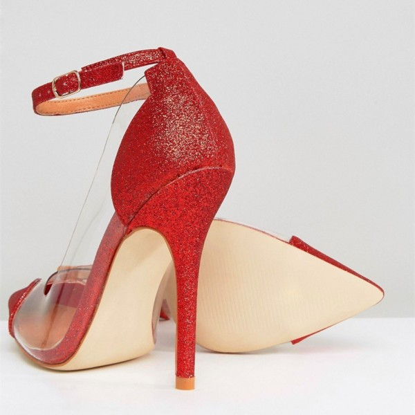 Clear Heels Red Transparent Ankle Strap Pointy Toe Stiletto Heel Pumps image 5