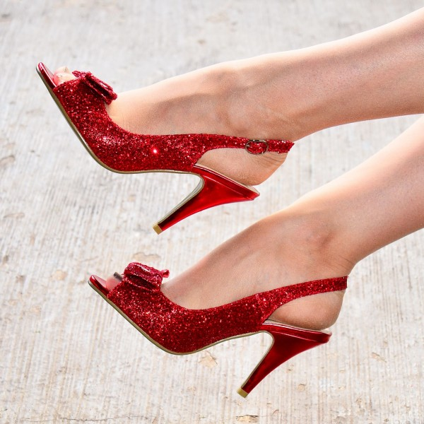 Red Glitter Shoes Bow Slingback Cone Heel Sandals image 2