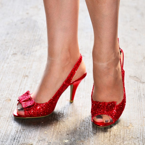 Red Glitter Shoes Bow Slingback Cone Heel Sandals image 1