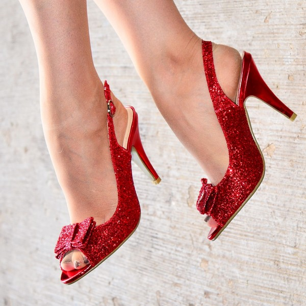 Red Glitter Shoes Bow Slingback Cone Heel Sandals image 3