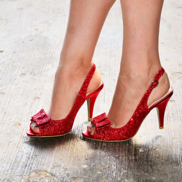 Red Glitter Shoes Bow Slingback Cone Heel Sandals image 5