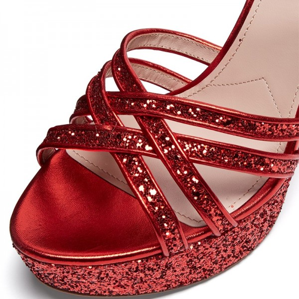 Red Glitter Shoes Platform Chunky Heel Sandals image 2