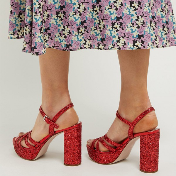 Red Glitter Shoes Platform Chunky Heel Sandals image 3
