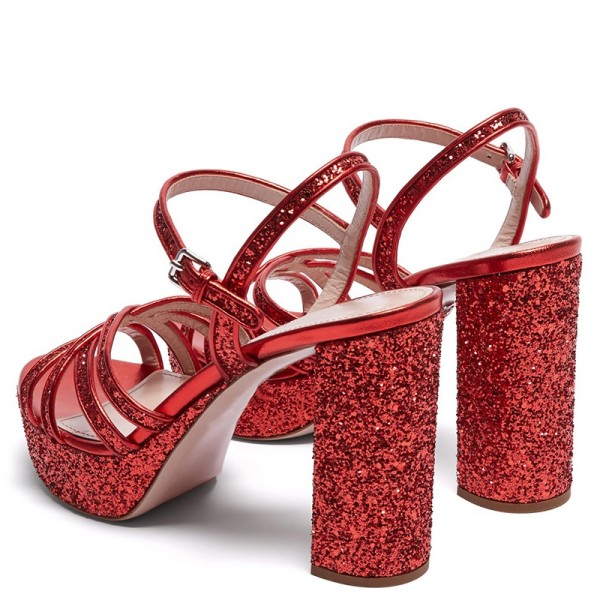 Red Glitter Shoes Platform Chunky Heel Sandals image 4