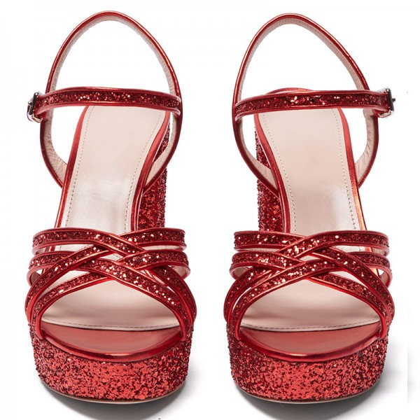Red Glitter Shoes Platform Chunky Heel Sandals image 5