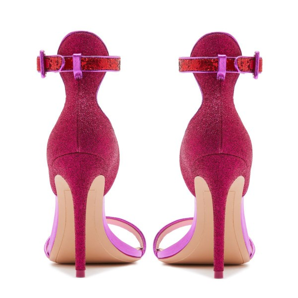 Orchid Glitter Stiletto Heel Ankle Strap Sandals image 3