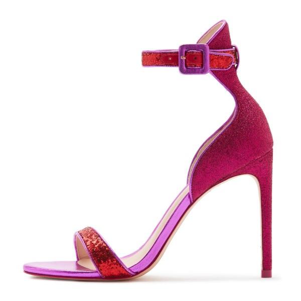 Orchid Glitter Stiletto Heel Ankle Strap Sandals image 2