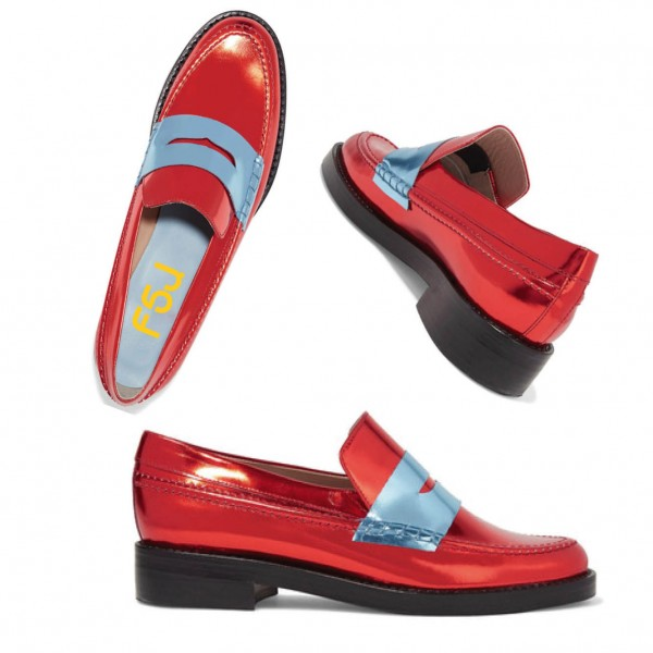 Red Shiny Vegan Leather Trending Flat Penny Loafers for Women image 5