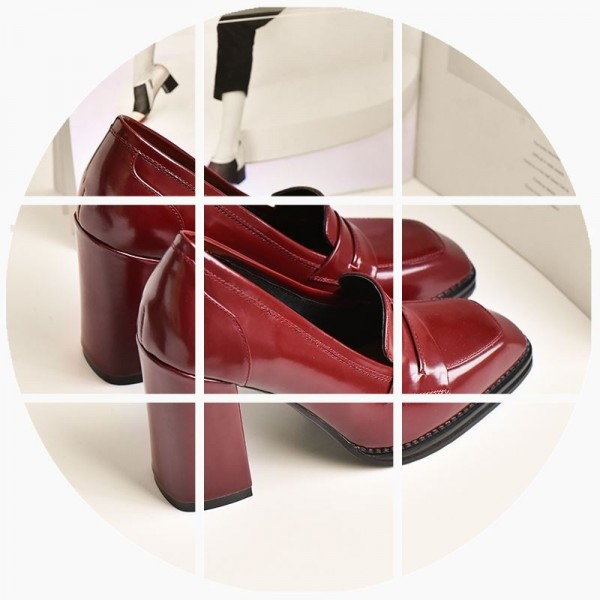 Burgundy Patent Leather Block Heel Square Toe Heeled Loafers for Women image 7